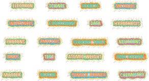 Heldere wetenschapswoorden Stock Afbeelding