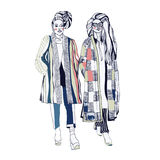 Heldere witte kleuren schets Handdrawn Manierillustratie Stock Foto
