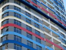 Heldere wolkenkrabber De textuur van het gebouw De samenvatting fragmen Royalty-vrije Stock Foto