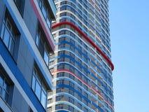 Heldere wolkenkrabber De textuur van het gebouw De samenvatting fragmen Royalty-vrije Stock Foto's