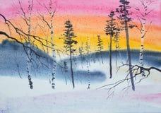Heldere zonsondergang over het de winterbos vector illustratie