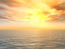 Heldere Zonsondergang over Overzees Royalty-vrije Stock Afbeelding
