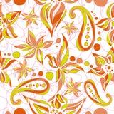 Heldergroen bruin eenvoudig patroon met wervelingen en bloemen Royalty-vrije Stock Afbeeldingen
