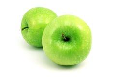 Heldergroene appel twee stock foto