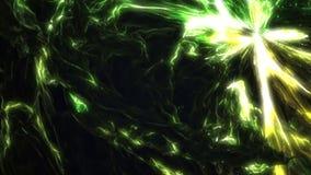 Heldergroene gele vloeibare golvende fractal videoanimatie stock videobeelden