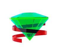Heldergroene smaragd met rood lint Royalty-vrije Stock Fotografie