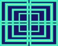 Heldergroene vierkanten van het patroon de vastgestelde neon op blauwe achtergrond stock illustratie
