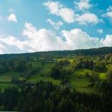 Heldergroene weiden en blauwe hemel stock afbeelding