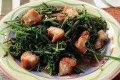 Helecho vegetal sofrito en salsa de la ostra con cerdo curruscante Foto de archivo
