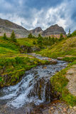Helen creek. Waterfall, mountains background Royalty Free Stock Images