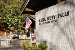 Helen, GA/USA � Dec 2, 2016: Visitor center at Anna Ruby Falls is in the Chattahoochee National Forest and is maintained by the. Helen, GA/USA Dec 2, 2016 stock photo