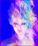 Helen of Troy, with feather hairstyle and colorful abstract effect. Royalty Free Stock Image