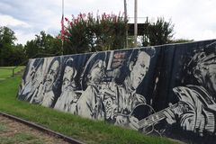Helena Blues Legends Wall painting at the Helena Levee Walk, Helena Arkansas. Stock Image