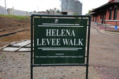 The Helena Levee Walk, Helena Arkansas. The Levee Walk offers panoramic views of downtown Helena and the Mississippi River and the opportunity to learn more stock photo