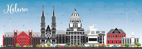 Helena Montana miasta linia horyzontu z koloru niebieskim niebem i budynkami royalty ilustracja
