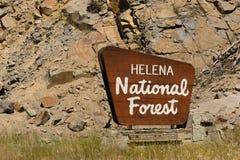 Helena National Forest Sign USA Jordbruksavdelningen Arkivfoto