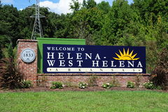 Helena-West Arkansas Welcome Center sign, Helena Arkansas. West Helena is the western portion of Helena-West Helena, Arkansas, a city in Phillips County Stock Photography