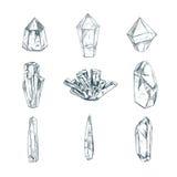 Helende Kristallen Vector hand getrokken illustratie Geïsoleerde voorwerpen yoga spirituality stock illustratie