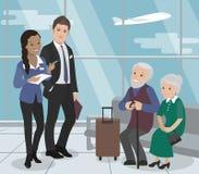 Helfen der älteren Personen während des Fluges Flughafen-Service Vektor Lizenzfreie Stockfotos