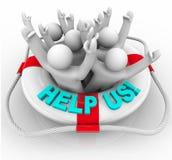Helfen Sie uns - Leute in der Schwimmweste Lizenzfreies Stockfoto