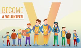 Helfende freiwillig erbietende Konzeptfahne, Karikaturart vektor abbildung