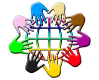Helfende Hände und Stützauf der ganzen Welt Konzept Stockfoto