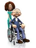 Helfender älterer Mann der Karikaturkrankenschwester im Rollstuhl. Stockfotos