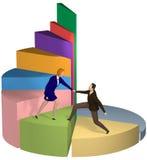 Helfender Geschäftsmann der Geschäftsfrau herauf Kreisdiagramm Lizenzfreie Stockfotos