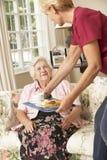 Helfer, der ältere Frau mit Mahlzeit im Pflegeheim dient stockbilder