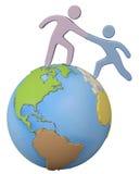 Helferreichweiten-Hilfsfreund herauf globale Welt Stockfoto