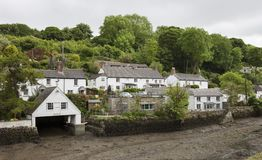 Helford village on the bank of the Helston River, Cornwall, England Royalty Free Stock Image
