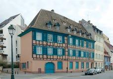 Helft-betimmerd huis in tenger-Frankrijk, Straatsburg Stock Afbeeldingen