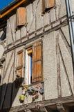 Helft-betimmerd huis in Soreze-Dorp, Frankrijk Royalty-vrije Stock Afbeeldingen