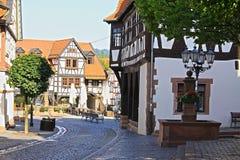 Helft-betimmerde gebouwen in Duitsland, Michelstadt Stock Foto