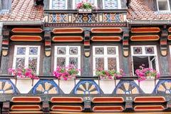 Helft-betimmerde huisvoorgevel in Wernigerode, Duitsland Royalty-vrije Stock Fotografie