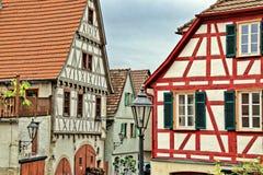 Helft-betimmerde huizen in Besigheim, Duitsland stock foto