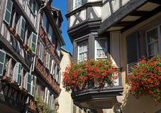Helft-betimmerde huizen, Colmar, de Elzas, Frankrijk Royalty-vrije Stock Fotografie