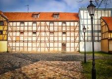 Helft-betimmerde huizen in de oude stad Royalty-vrije Stock Fotografie