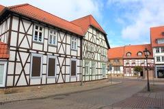 Helft-betimmerde huizen in Halberstadt Stock Foto