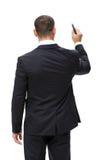 Helft-lengte backview van zakenman het schrijven Stock Foto's