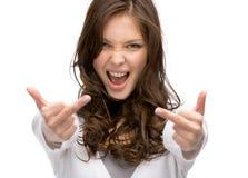 Helft-lengte portret die van meisje obsceen gebaar tonen stock foto