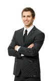Helft-lengte portret van zakenman met gekruiste wapens Royalty-vrije Stock Afbeelding