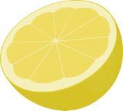 Helft van gele die citroen op wit wordt de geïsoleerd Stock Fotografie