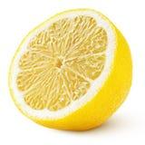 Helft van gele die citroencitrusvruchten op wit wordt de geïsoleerd royalty-vrije stock foto's