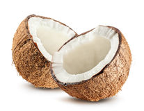 Helft van kokosnoot op witte achtergrond wordt de geïsoleerd die royalty-vrije stock afbeeldingen