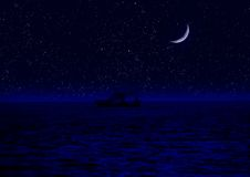 Helft van maan die in water wordt de weerspiegeld stock illustratie