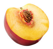 Helft van nectarine op de witte achtergrond wordt de geïsoleerd die Royalty-vrije Stock Fotografie