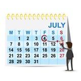 Helg för tecknad filmaffärsmanmarkering på kalender Royaltyfri Bild