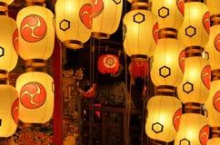 Helgdagsafton av den Gion Matsuri festivalen, Kyoto Japan i Juli Royaltyfri Bild