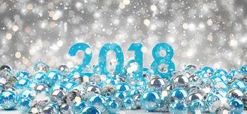 helgdagsafton för nytt år 2018 med tolkningen för julstruntsaker 3D vektor illustrationer